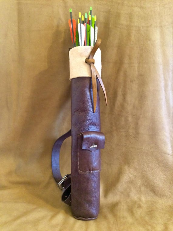 Traditional Leather Archery Shoulder Quiver