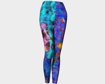 Yoga Leggings Dance Pant Cycling Pants Whimsical Legging Workout Dancewear Festival clothing Bridesmaids Gift Colorful Blue Girl Art Print