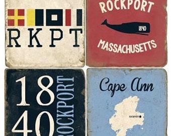 Rockport Massachusetts Italian Marble Coasters