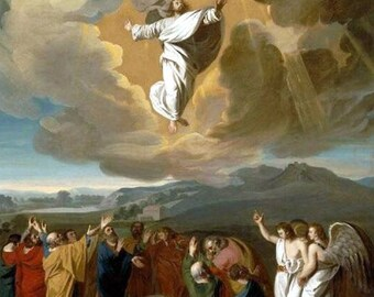 "Jesus ascending to heaven  1775   John singleton Copley. religious art, Christian art, antique religious art, 11x14"" canvas art print"