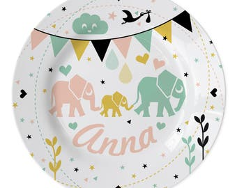"""Custom plate """"Elephants"""" with a name of your choice added to it - New baby plate - New born plate - stork plate, name plate"""