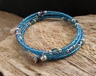 Blue Seed Bead Memory Wire Wrap Bracelet, Bohemian Sparkly Beaded Cuff Bracelet, Boho Style Coil Bracelet, Flower Charm Bracelet