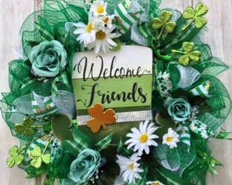Irish Wreath, Irish Decor, St. Patrick's Day Wreath, St. Patrick's Day Decor, Irish, St. Patrick, March Decor, Shamrock, Welcome Wreath