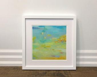 Matted Print, Abstract Landscape, wall art, giclee print, fine art print, 16 x 16