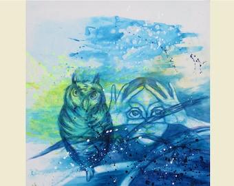 birthday card owl, congratulation card owl, owl and girl, greeting card eyes, blue birthday card, birds, card for girls, art, miss you cards