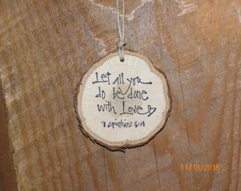 Wood slice ornament, Rustic Ornament, home decor, Christmas ornament, wood slice, Scripture ornament, tree ornament, Christian ornament