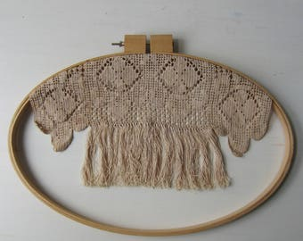 "Vintage Crochet Fringe Wall Hanging - Textile Art - Oval Embroidery Hoop 14"" x 20"""