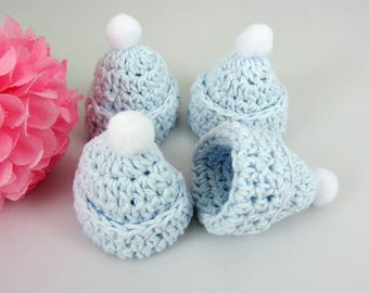 3 mini Hat Pom Pom crocheted baby blue boy baptism