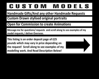 Custom model Order (Made to order) (Message me for model requests)