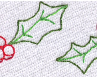 Holly Clusters Hand Embroidery Pattern, Winter, Holidays, Christmas, PDF