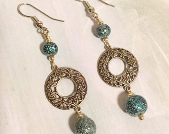 Silver Filigree Circle Earrings with Blue Spectra Beads, Silver Filigree Earrings, Filigree Earrings, Filigree Circle Earrings