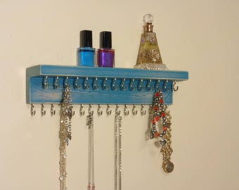 Jewelry Holder - Necklace Hanger - Jewelry Organizer - Shabby Teal Finish - Many Other Colors Too -  Top Shelf - 31 Hooks - Ready To Hang