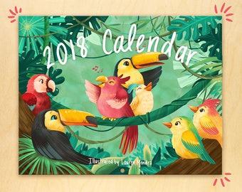 2018 Calendar - Cute Birds, adorable wall calendar, cute animal calendar, kids calendar, nature calendar, whimsical illustrations