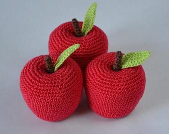 1 Pcs - Crochet apple, crochet fruit, teething toy, toys, play food, kitchen decoration, amigurumi food, amigurumi fruits, amigurumi apple