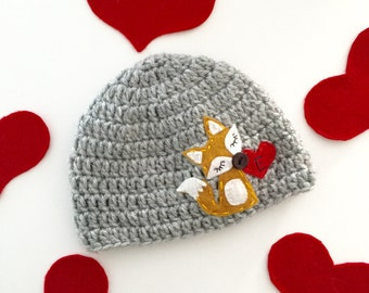 Fox Baby Hat | Crochet Girl Hat wit Felt Appliqué | Personalized Baby Fox Hat | Baby Shower Gift | Hospital Hat | sizes Baby to Teen