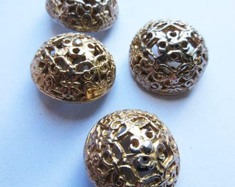 Stunning and unique vintage gold coloured metal buttons