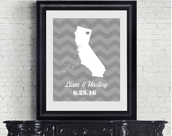 Wedding Print, Personalized Wedding Gift, State Map - Digital Printable File - Chevron