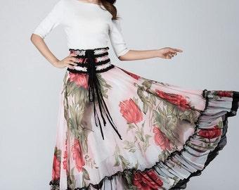 bohemian skirt, dance skirt, maxi skirt, floral skirt, elastic waist skirt, chiffon skirt, boho skirt, bridesmaid skirt, womens skirts 1568