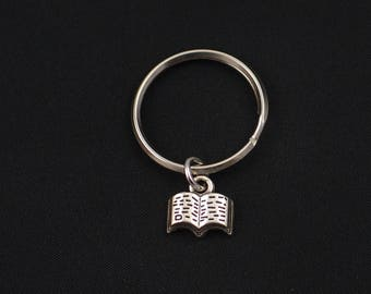 tiny book keychain, sterling silver filled, silver spell book charm, literature keychain, library keychain, librarian jewelry, christmas