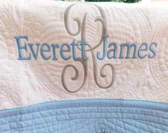 Monogrammed Baby Quilt -  Personalized / Monogrammed / Embroidered Baby Blanket With Blue  Trim