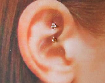 Rose Gold Triple Opal Rook,daith Piercing Curved Barbell..16g..8mm