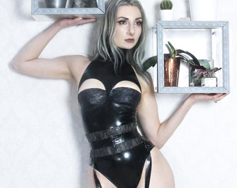 Latex high neck cup bodysuit with latex-lace cups and suspender belt (special price)