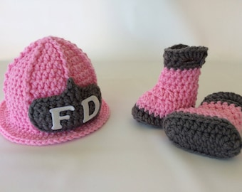 Baby Girl Firefighter Fireman Pink Hat Helmet & Boots - Newborn Firefighter - Photography Prop - Baby Shower Gift - 0-3