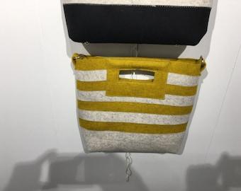 Striped Felt Tote - MUSTARD CREAM Debora Crichton