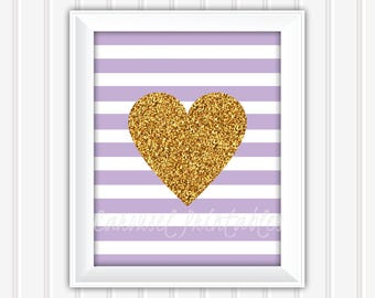 Gold Glitter Heart Wall Art, Purple And Gold Wall Art, Printable Wall Art, Instant Download, Kids Wall Art, Nursery Wall Art, DIY Wall Art