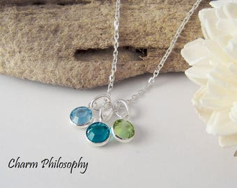 Birthstone Necklace - 3 Birthstones - Personalized Birthstone Jewelry - Mom of 3 - Sisters Necklace - Friendship Necklace