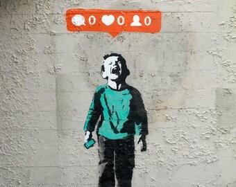 BANKSY Canvas Graffiti Nobody Likes Me Wall Art Print Gallery Wrapped