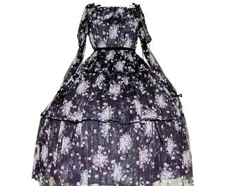 FLORENCE long sleeve dress lolita op gothic romantic goth 90's grunge plus size floral black dark elegant egl velvet netting tulle glitter