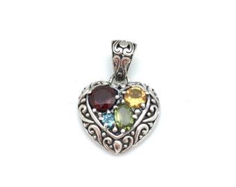Sterling Silver and Semi-precious stone Heart Pendant