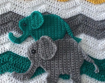 Crocheted elephant etsy crochet elephant applique pattern jungle nursery crochet pattern dt1010fo