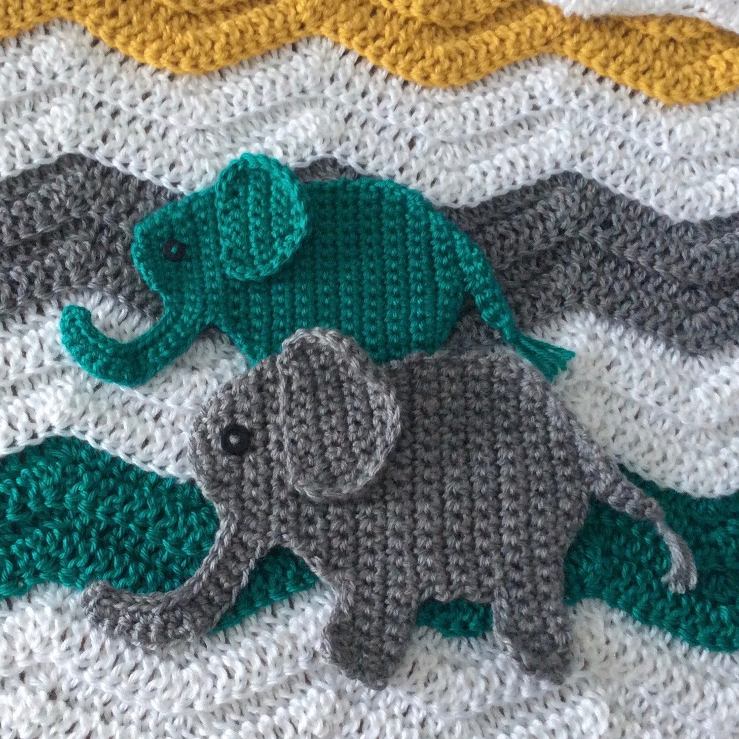 Crochet Elephant Applique Pattern Jungle Nursery Crochet