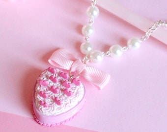 Pink Heart Cake Necklace, Kawaii Pastel Pendant, Lolita Charm, Party Kei Jewelry, Miniature Food Jewelry, Pin Up