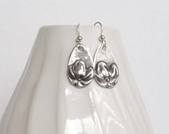 Spring Floral Teardrop Earrings  Fine Silver