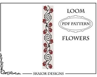 Loom Bead Pattern Flower Bracelet Square Stitch Pattern Flourish Loom Pattern Tribal Seed Beads Beading Pattern Red Blossom Bead Weaving PDF