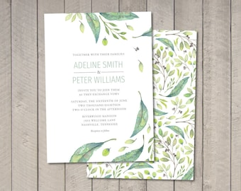 Botanical Wedding Invitation, RSVP, Details Card (Printable) by Vintage Sweet