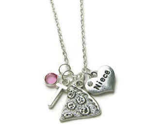 Niece Necklace, Niece Pizza Necklace, Necklace For Niece, Niece Birthstone Necklace, Niece Jewelry, Gift For Niece, Niece Gift, Personalized