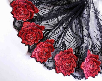 x1m gorgeous lace embroidery on black tulle with red rose glamour width 19cm