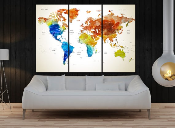 Push pin world map canvas print modern wall art extra large like this item gumiabroncs Images