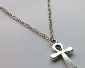 Silver Ankh Necklace , Crux Necklace , Egyptian Necklace , Silver Cross Necklace , Simple Cross Necklace , Key of Life