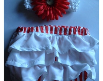 Diaper Cover Set Red/White Striped Baby Girl w/Matching Headband Photography Prop, Dressy