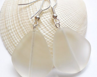 Large Crystal White Sea Glass Earrings, Beach Jewelry, Beach Glass Earrings, Seaglass Jewelry,  Wedding Jewelry, Bridesmaid Gifts. Free Ship