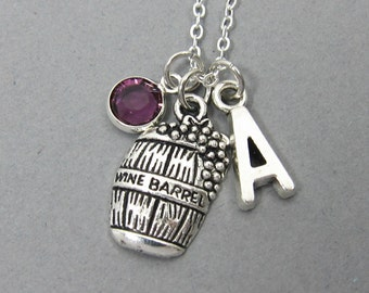 Wine Barrel Necklace - wine lover necklace, alcohol drinking, personalized initial, custom birthstone