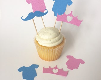 24 gender reveal cupcake toppers, boy or girl party, little man or little princess cupcake, gender reveal party