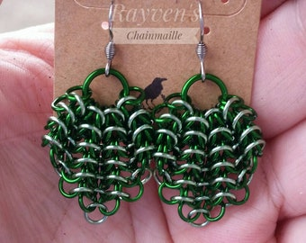 Green Gathered Euro Chainmaille Chainmail Earrings
