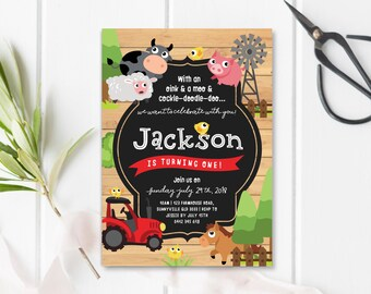 Farm Themed Invitation, DIGITAL DOWNLOAD, Printable Tractor Windmill Farm Animal Invite, Farm Themed 1st First 2nd Birthday Party