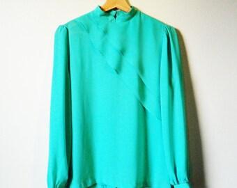 Aquamint Vintage Sheer Statement Blouse / Diagonal Layered Blouse / Nehru Collar Minty Green Romance Blouse / Pastel Mint Green